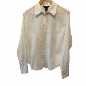 VAN HEUSEN White Button Up Embroidered Blouse M